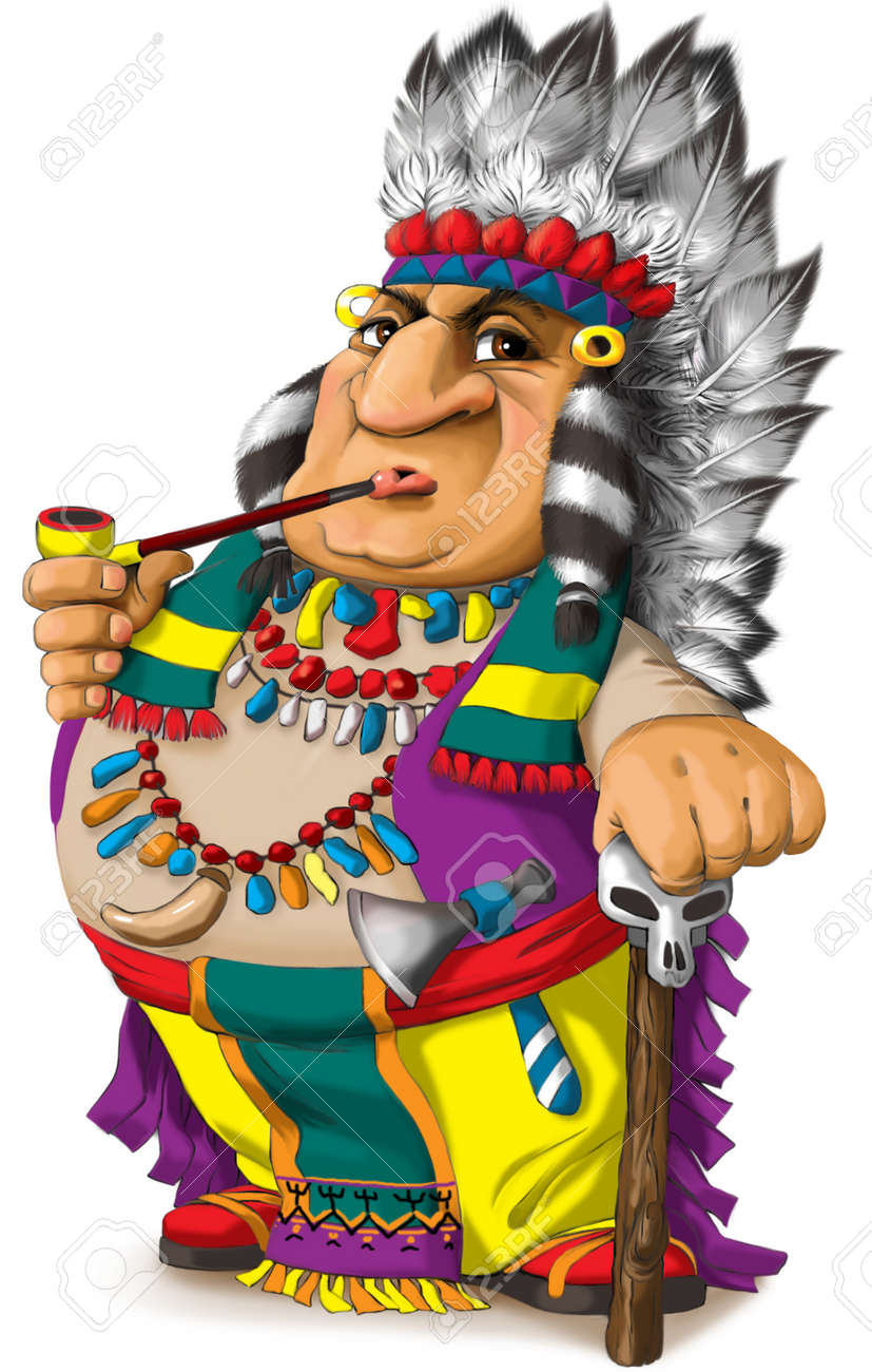 Illustration of a funny Indian tribal leader in a bright colorful national costume of North America - 163419079