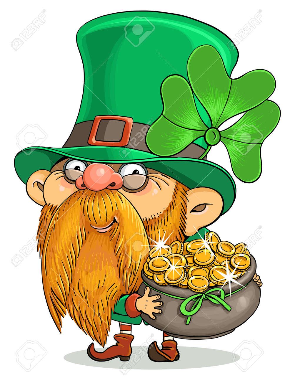 Vector cartoon. Postcard for St. Patrick's Day. Cute Irish Leprechaun and a pot of gold coins. - 164427955