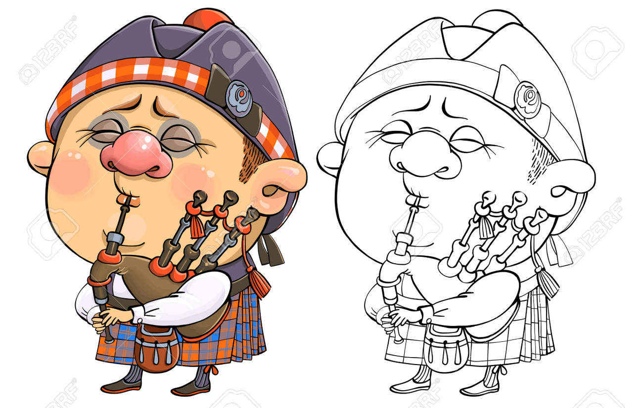 Vector cartoon for coloring. A funny illustration of a cute British piper in national costume with a musical instrument. - 165688940