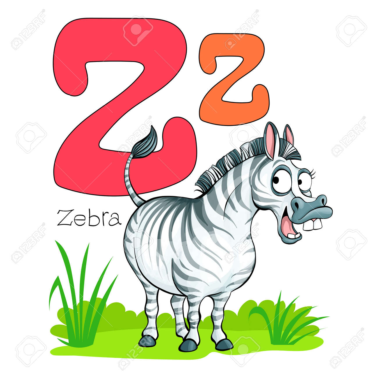 Vector illustration. Alphabet with animals. Large capital letter Z with a picture of a bright, cute zebra. - 168498444