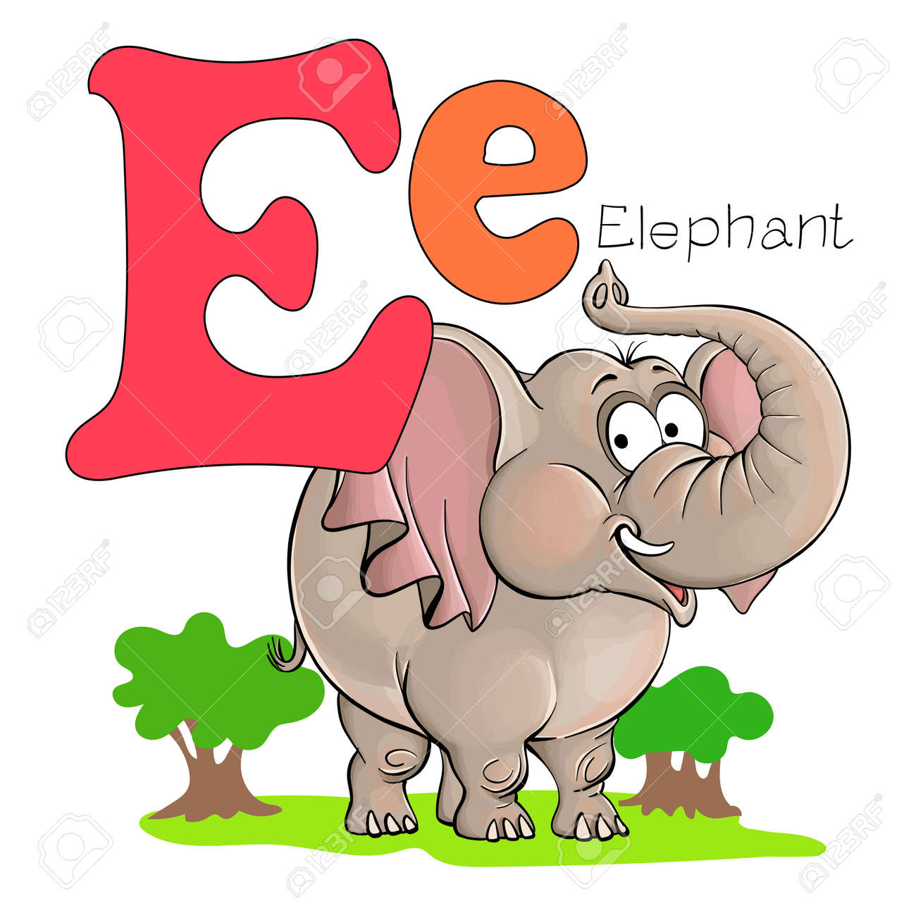 Vector illustration. Alphabet with animals. Large capital letter E with a picture of a bright, cute elephant. - 168498442