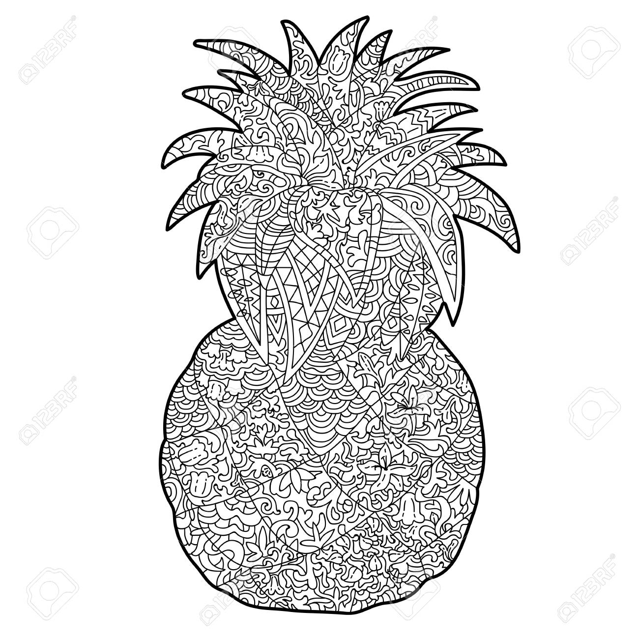 Anti Stress Pineapple Coloring Page With White Patterns