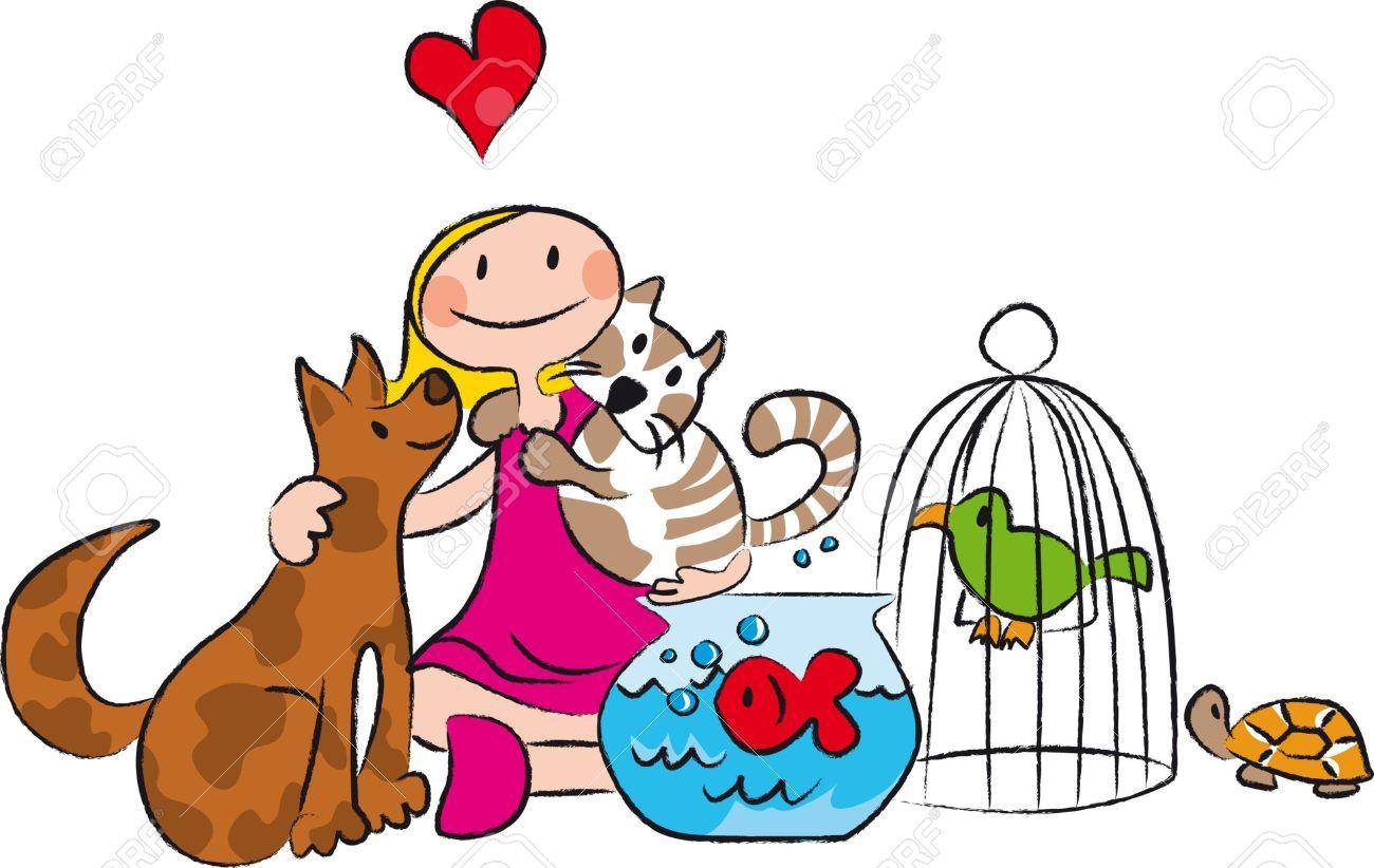 Bebé Amante De Los Animales, Rodeada De Perros, Gatos, Peces, Aves ...