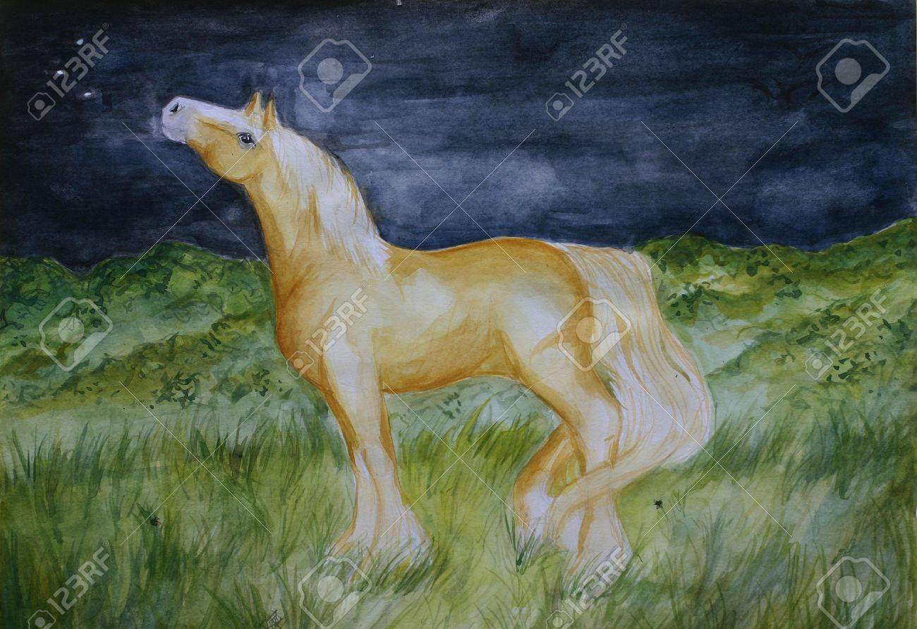 A Watercolour Painting Of A Golden Palomino Horse Gazing At The Stock Photo Picture And Royalty Free Image Image 499654