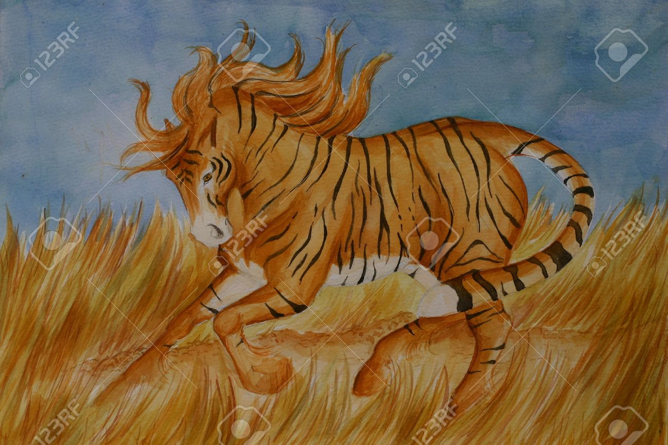 A Crossbreed Between Horse And Tiger Running Stock Photo