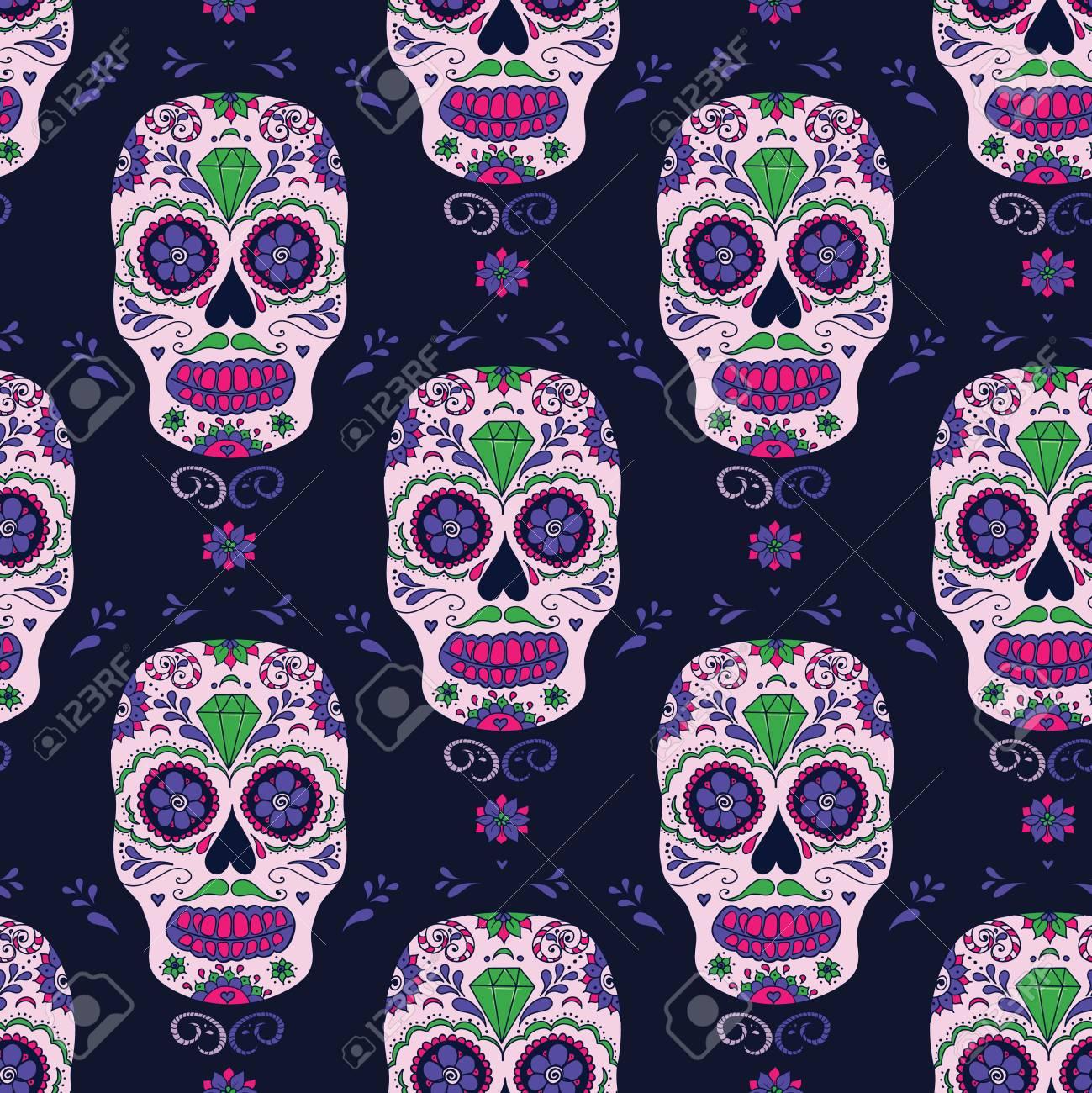 fd92a2df skull color illustration, t-shirt graphics. Day of the dead sugar skull.