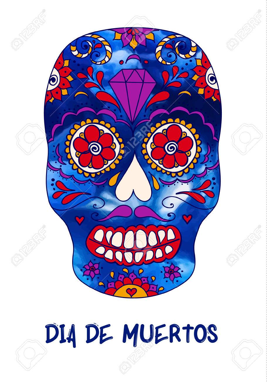 Skull Color Illustration T Shirt Graphics Day Of The Dead Sugar Royalty Free Cliparts Vectors And Stock Illustration Image 82239803