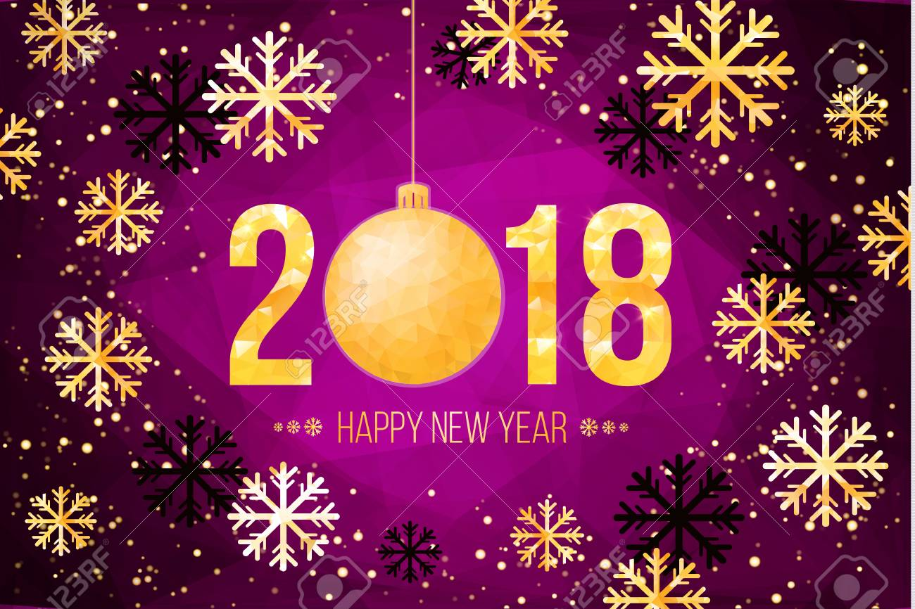 2018 happy new year background golden numbers with confetti on black background template for