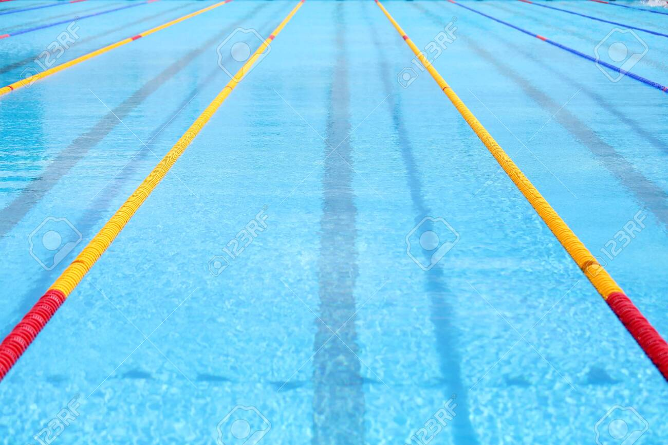 Empty swimming pool. Texture of classic blue water. - 142351555