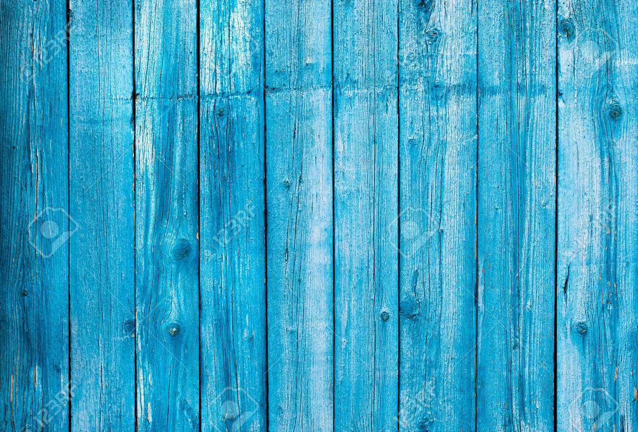 Wooden blue painted board. Vintage beach wood backdrop. - 163581516