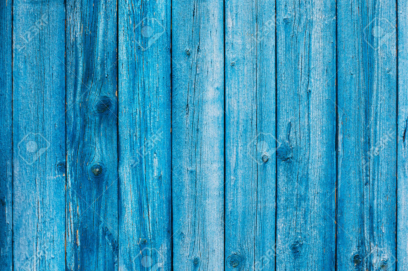 Wooden blue painted board. Vintage beach wood backdrop. - 164318640