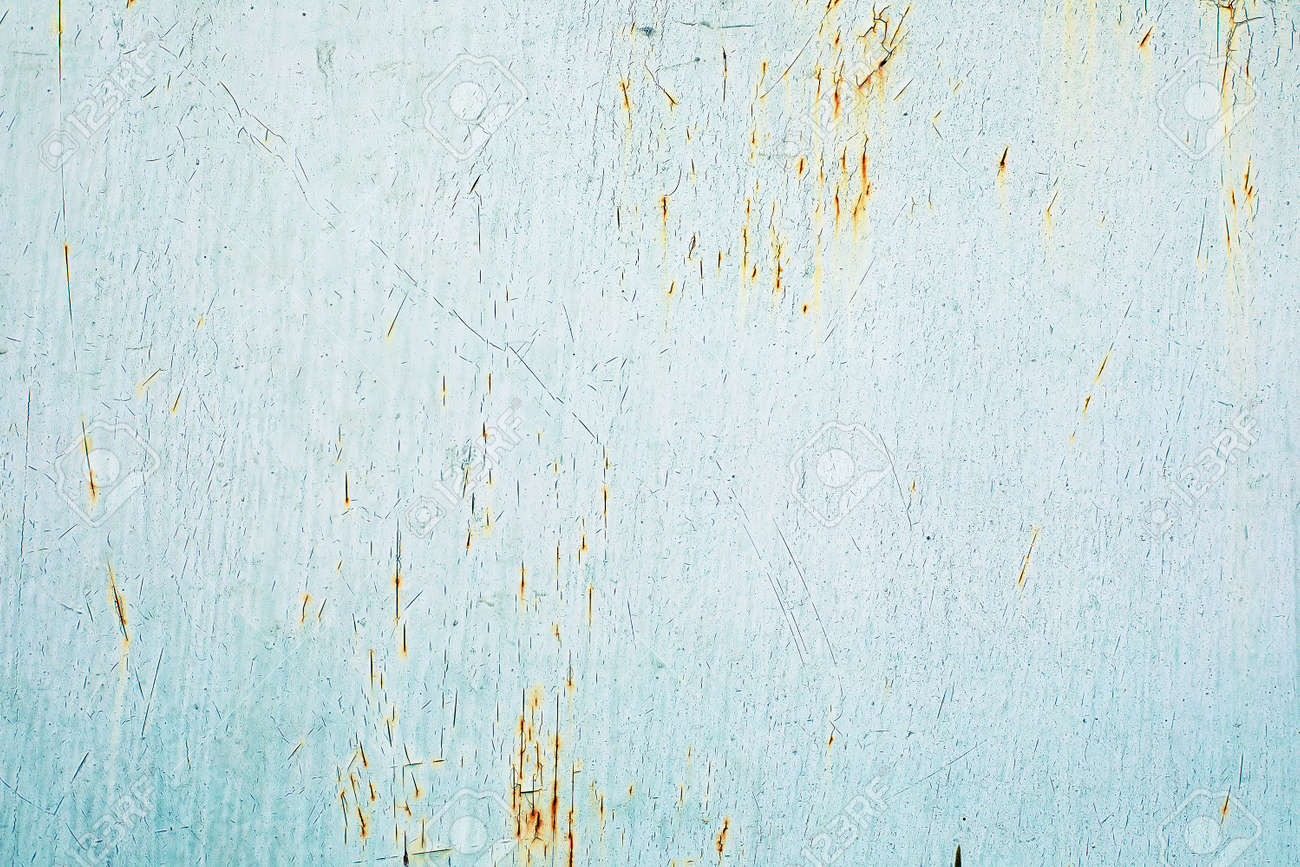 Abstract grunge damaged blue and green metal texture background. Rusty painted metal wall. - 164585295