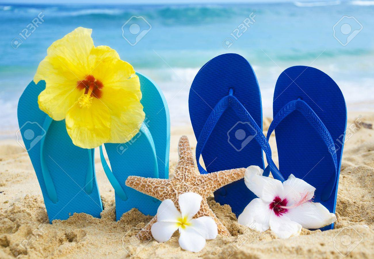 1a07b2f8dd5b2e Flip flops and starfish with tropical flowers on sandy beach in Hawaii  Stock Photo - 20439681