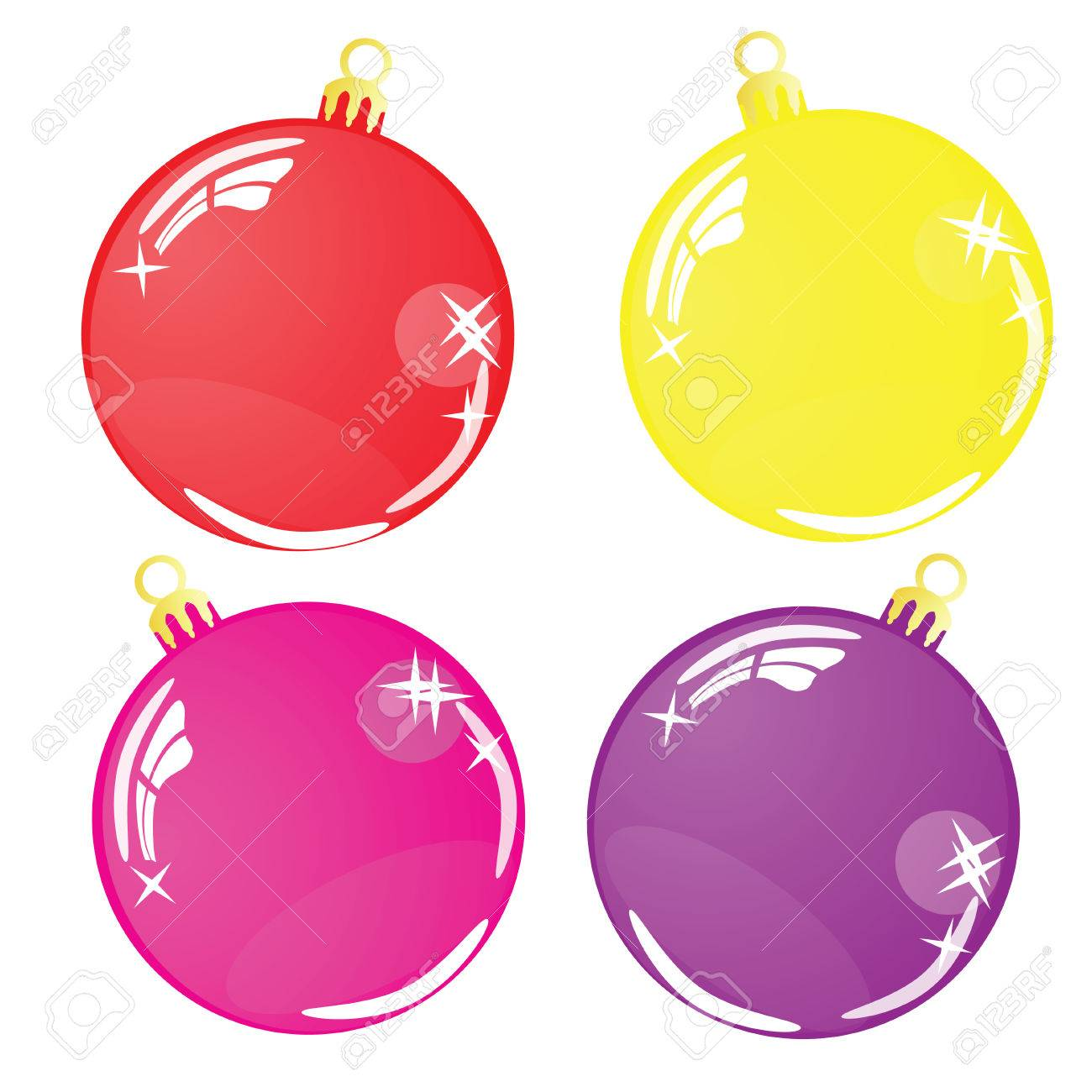 Four Color Christmas balls isolated on white background Stock Vector - 23191075