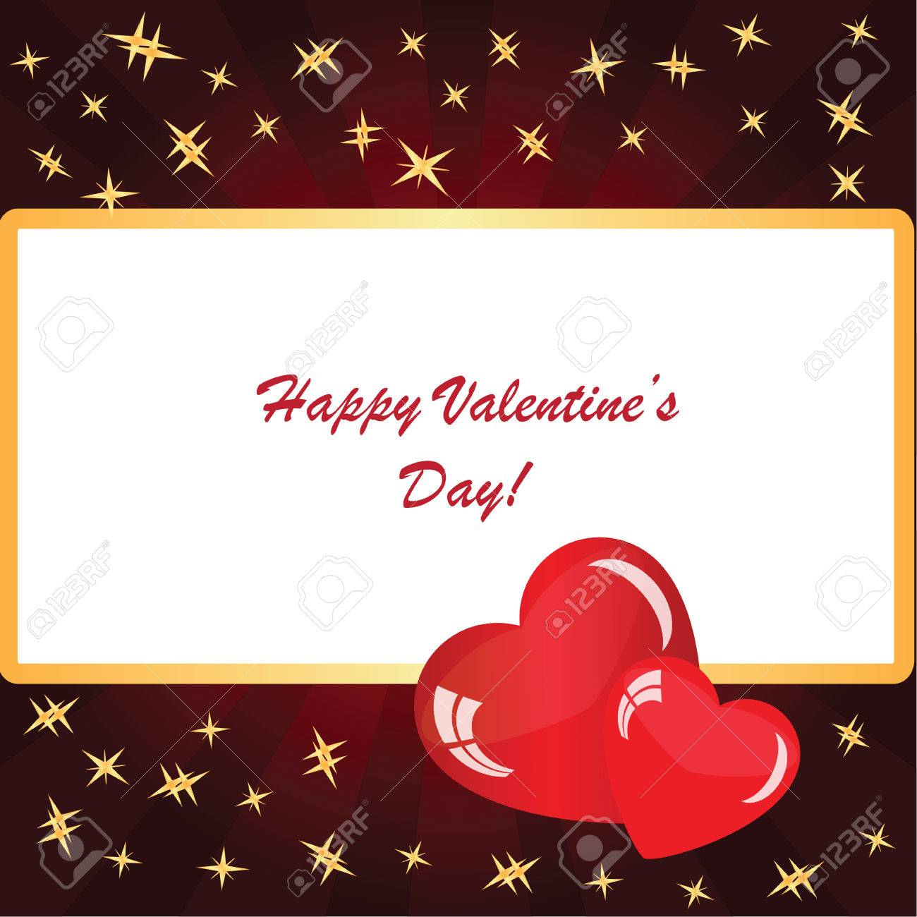 Valentine\'s Background With Two Hearts With Frame, Rays And Stars ...