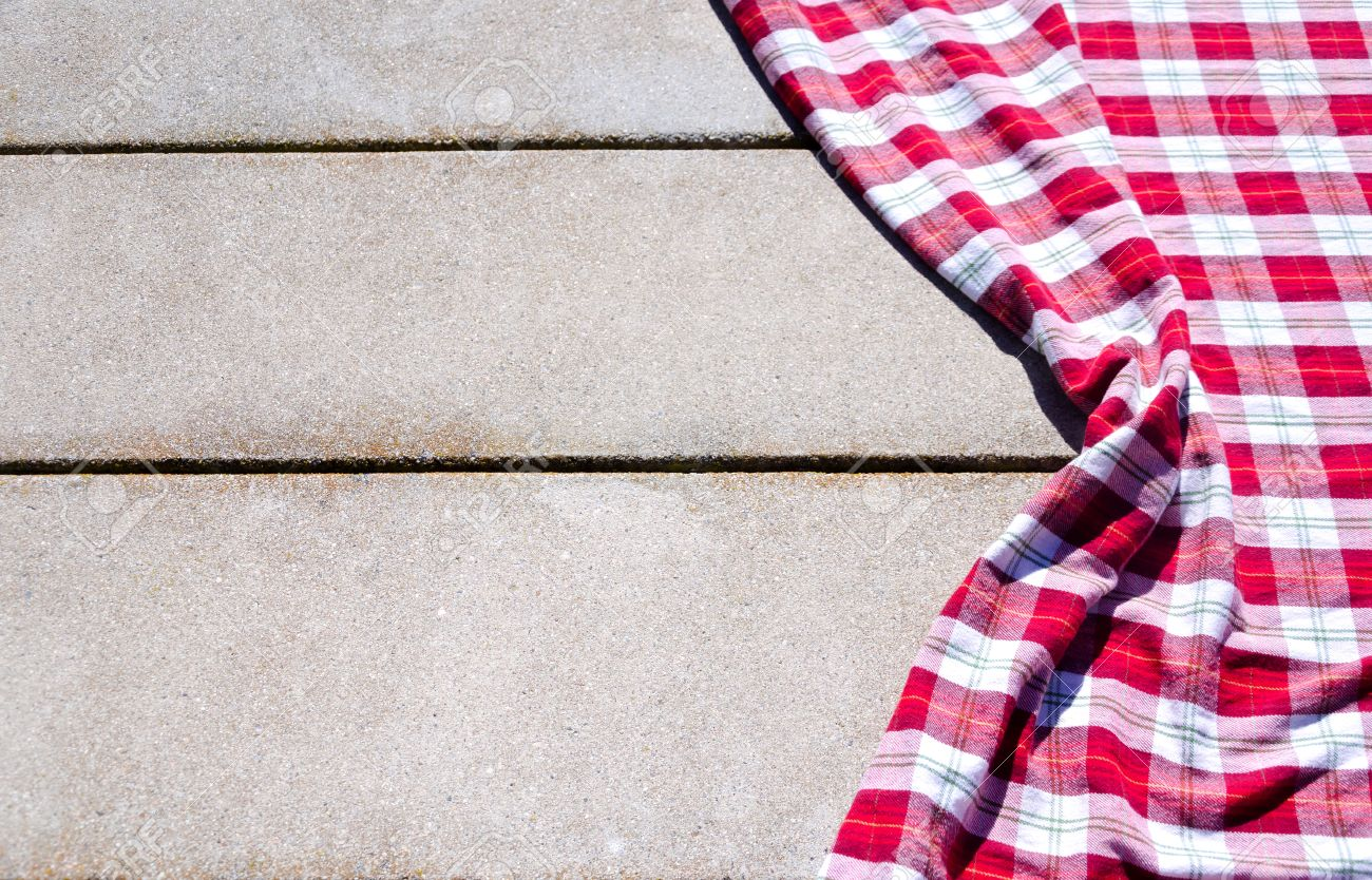 Picnic table background - Picnic Tablecloth Textile On The Table Background Stock Photo 32972184