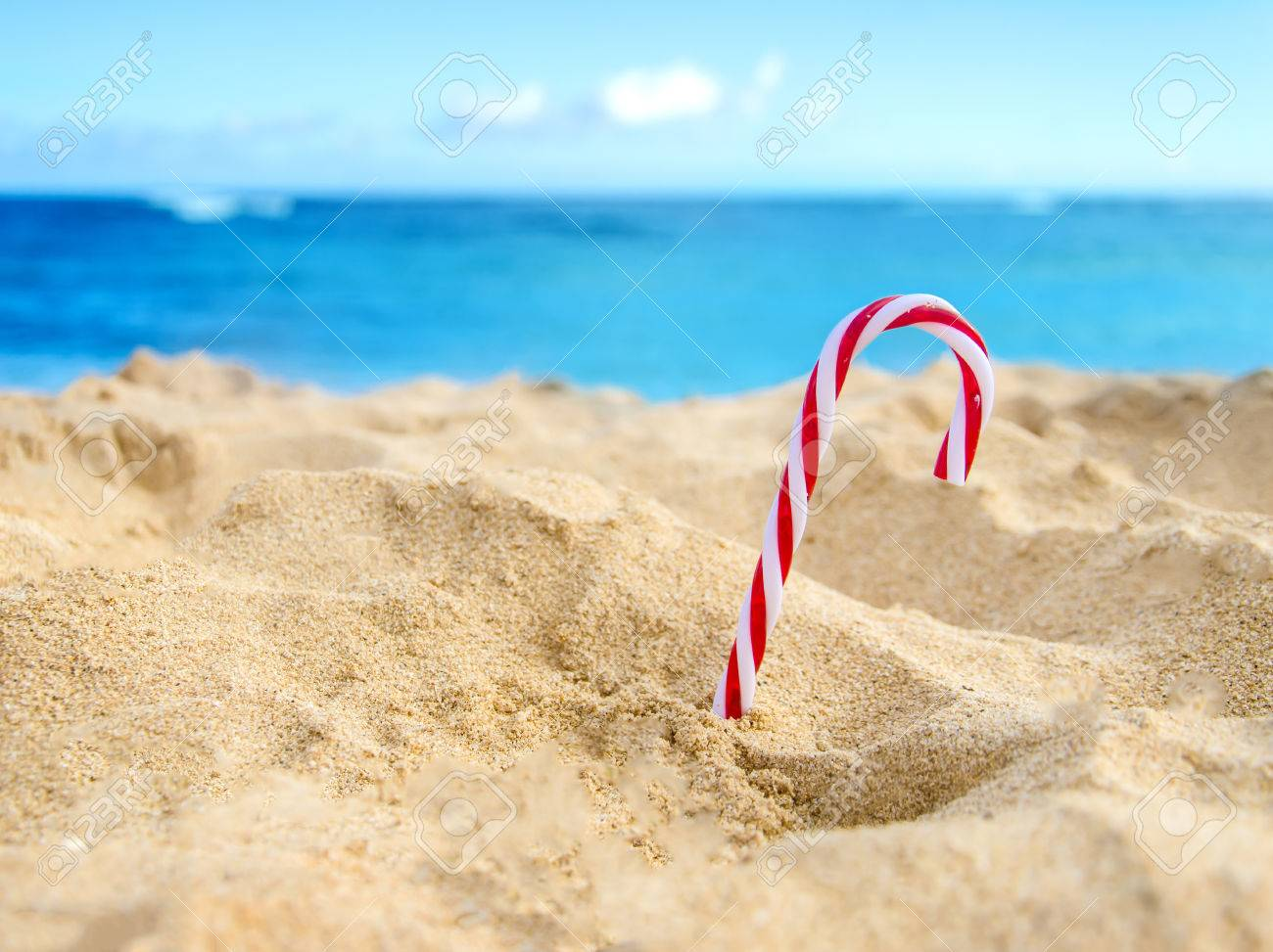merry christmas and happy new year background candy on the tropical beach near ocean in