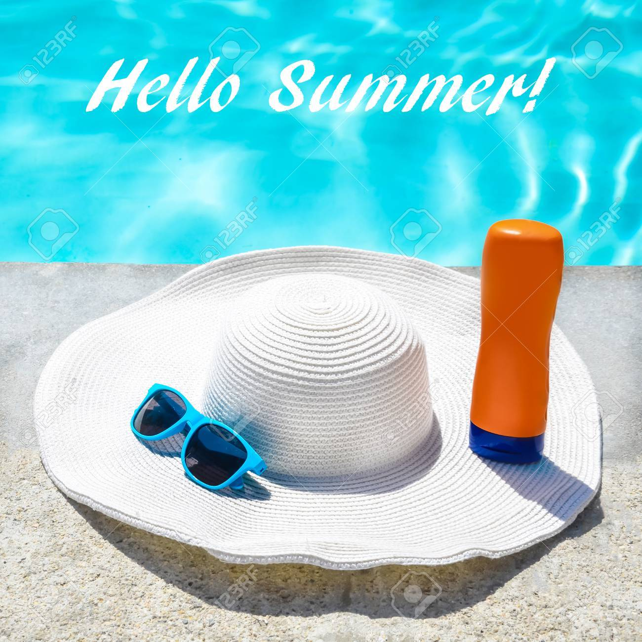 e7ca1034aa0 Hello Summer Background With Hat