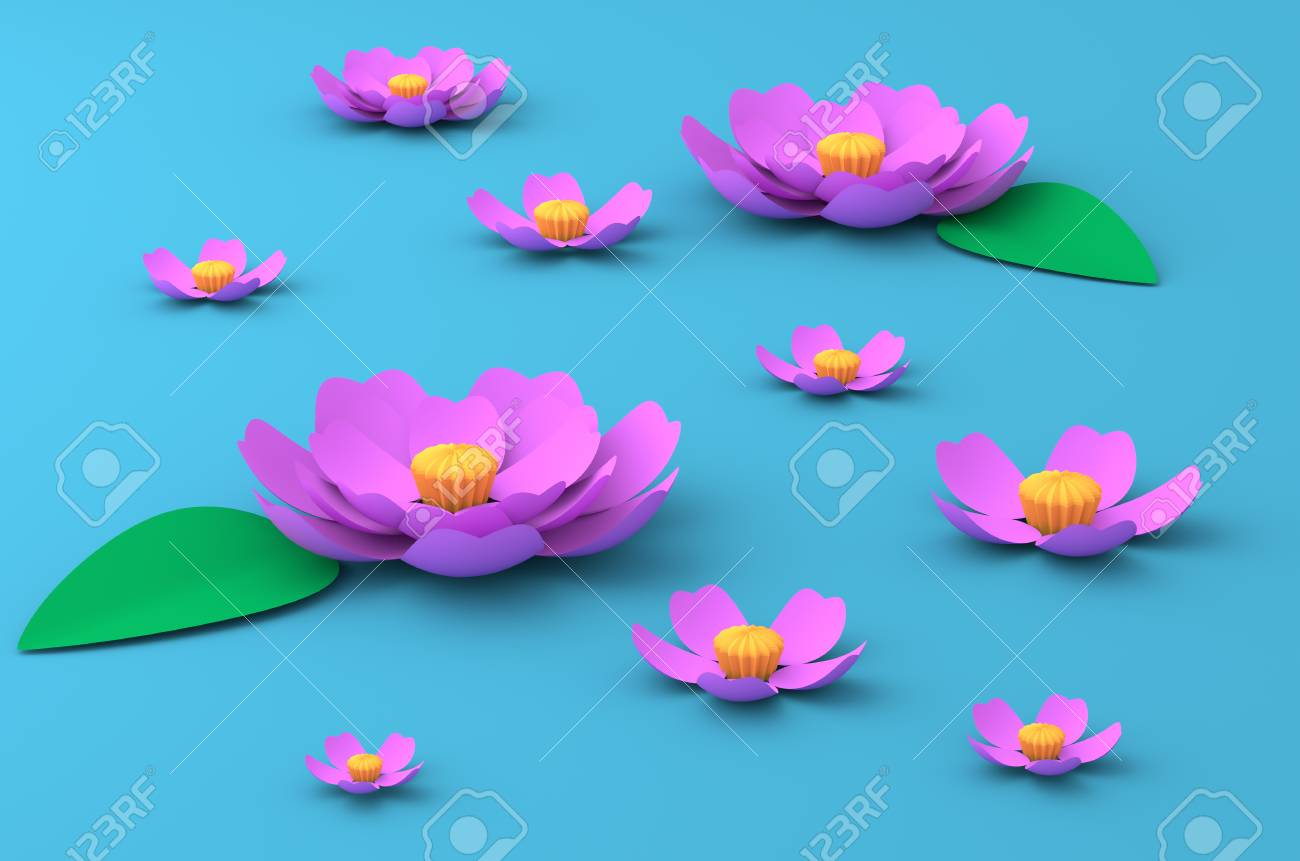 Pink Flowers Of Lotus On The Blue Lake Paper Craft Art 3d