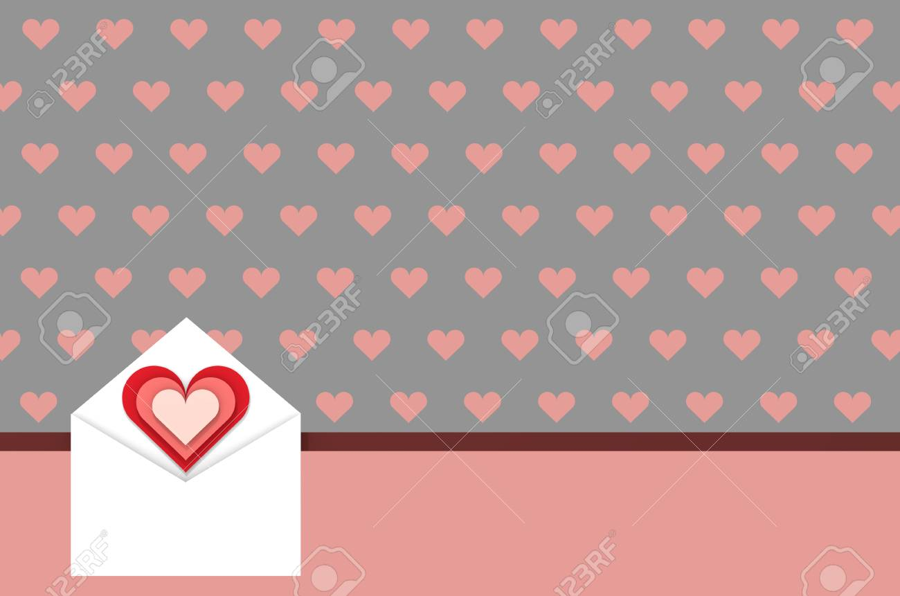 Greeting Card Love Messages Concept On Pink Gray Backdrop 3d Stock