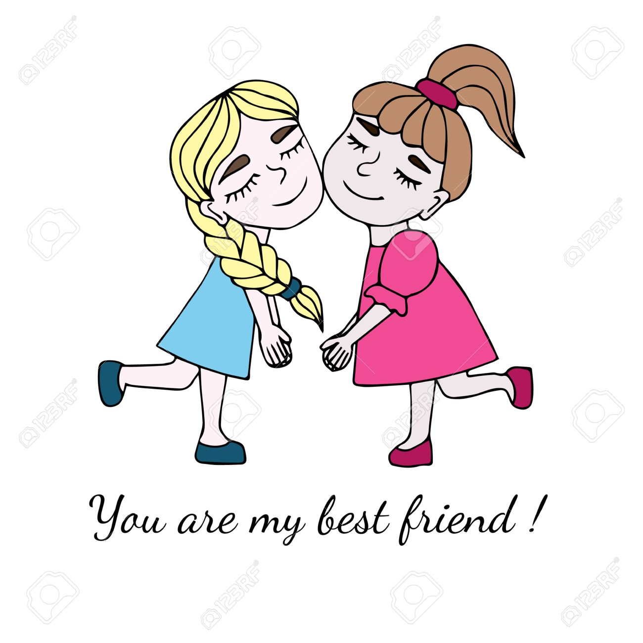 Two Best Friends Together With Inscription You Are My Best Friend