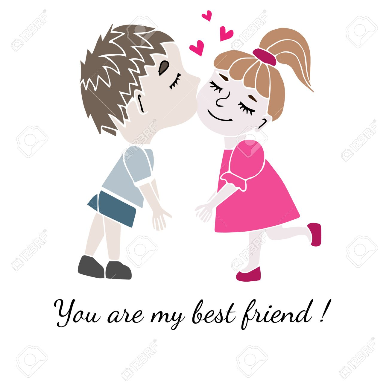 Two Best Friends Boy And Girl Together With Inscription You Are