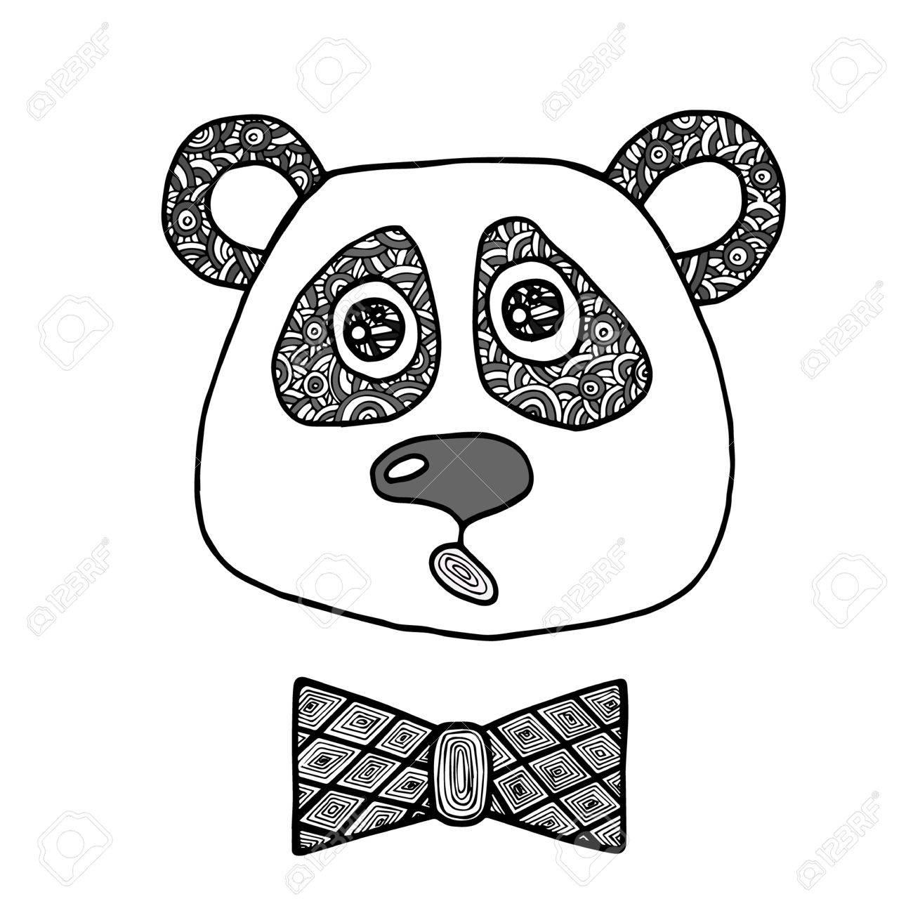 手にはパンダの男の子の頭を黒い線が描画されますスケッチのタトゥー