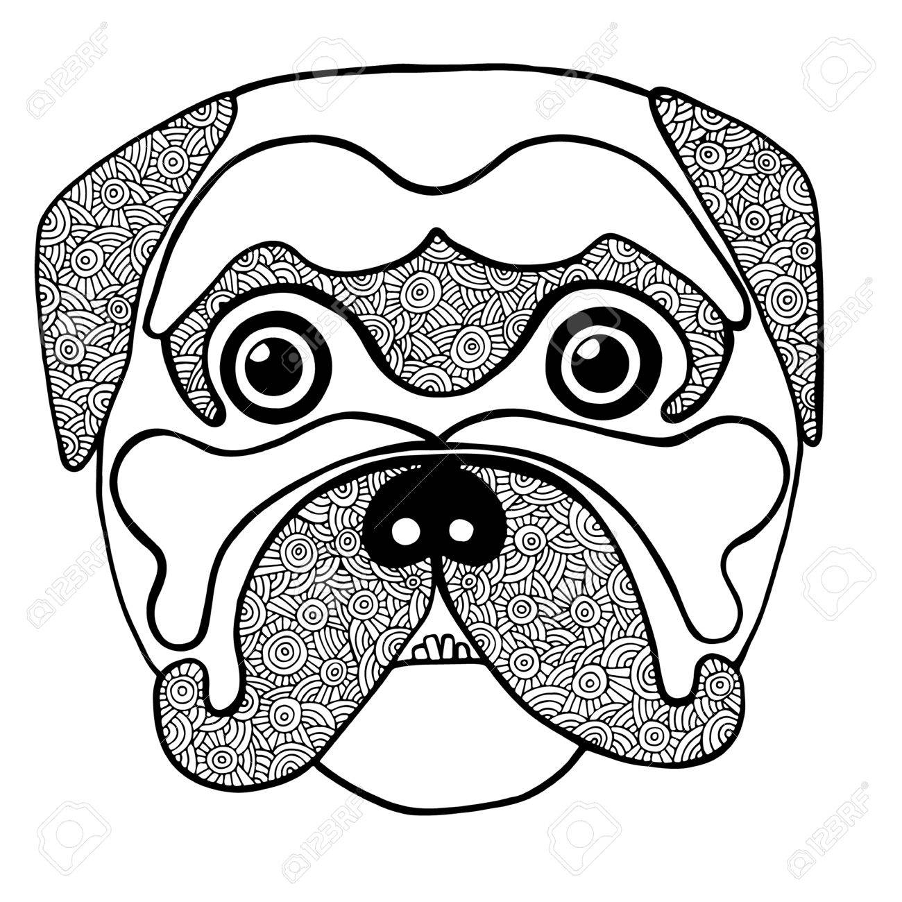 Black Line Cute Dog Head Hand Drawn Sketch For Adult And Children Antistress Coloring Page