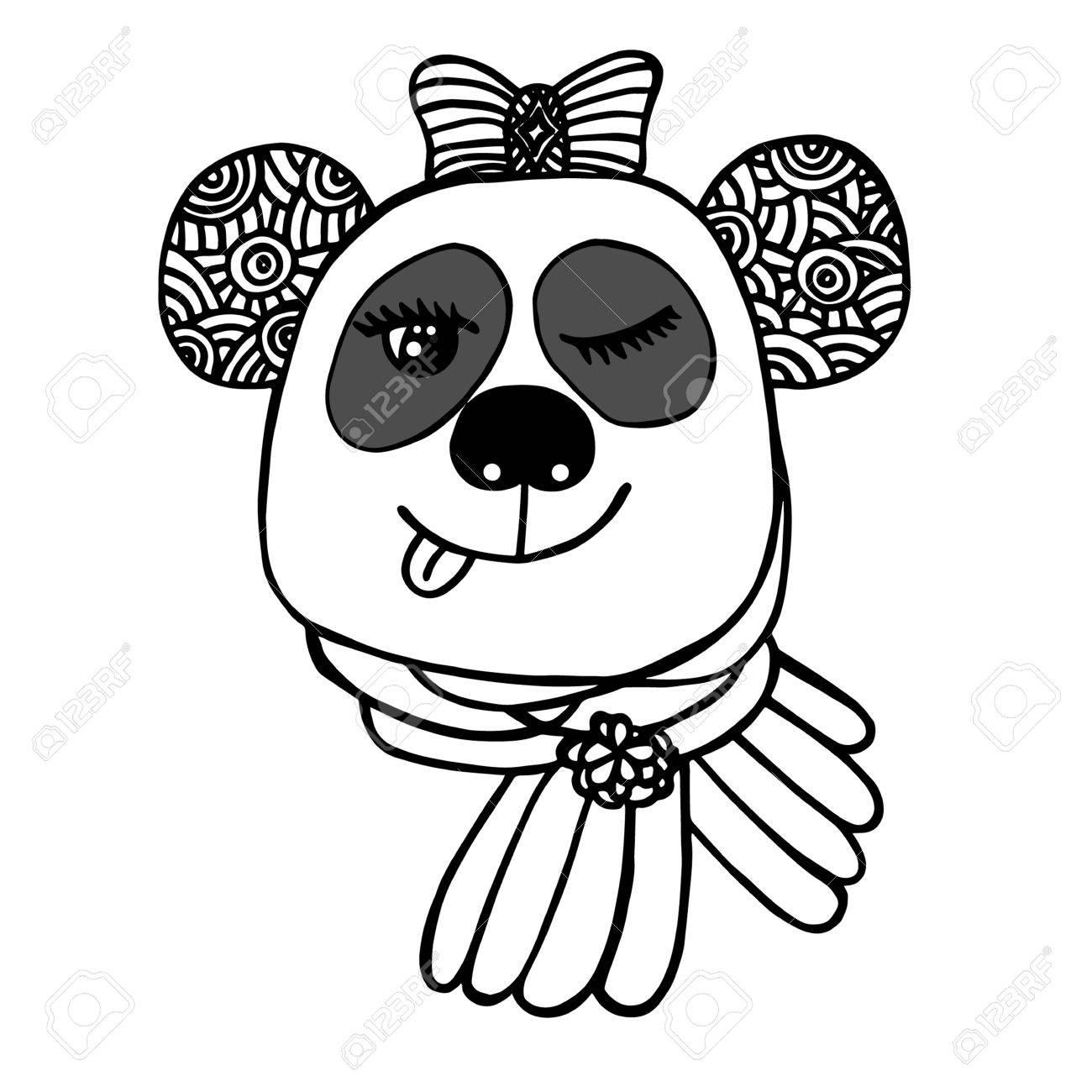 弓で笑顔パンダの手描き下ろしヘッドスケッチのタトゥーポスター