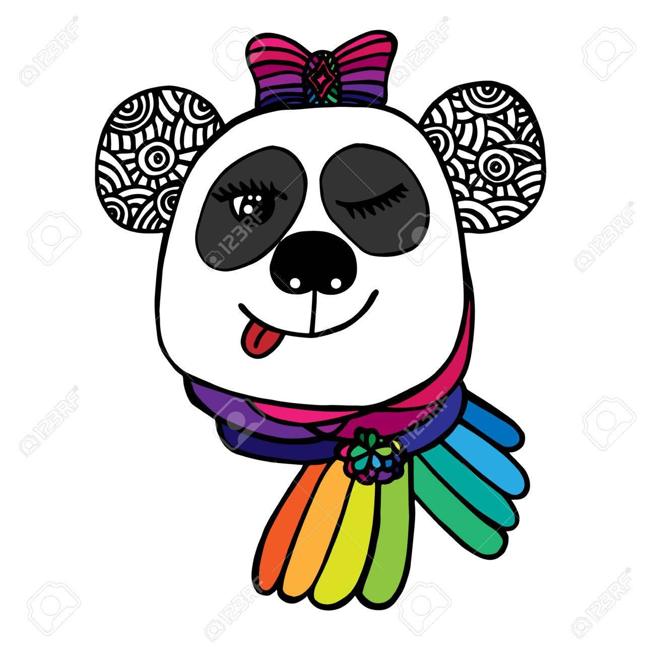 Coloriage Darc En Ciel En Ligne.Multicolor Tete De Sourire Panda Avec La Couleur De L Arc D Arc En Ciel Esquisse Pour Le Tatouage L Affiche Impression Ou T Shirt Relaxant Livre