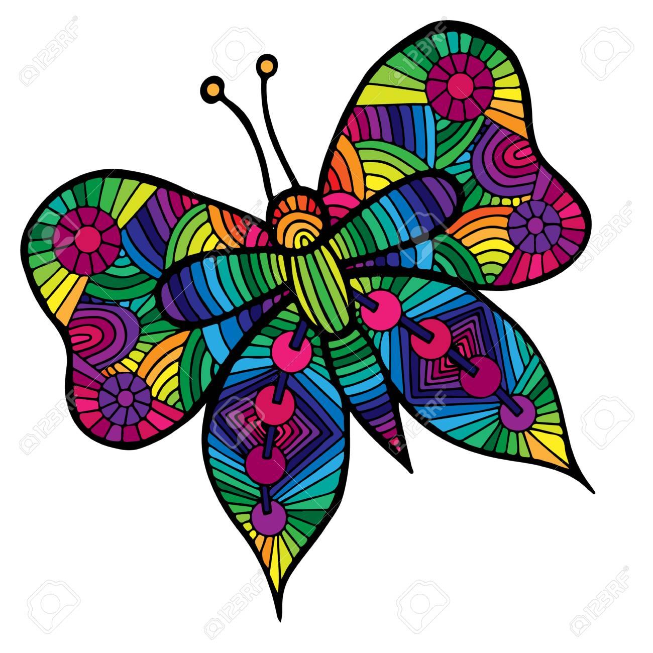 Mariposa De Colores Para El Tatuaje, Libro Para Colorear Para Los ...