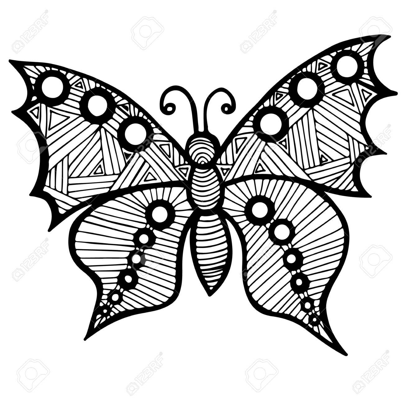 Mariposa Línea De Negro Para El Tatuaje, Libro Para Colorear Para ...