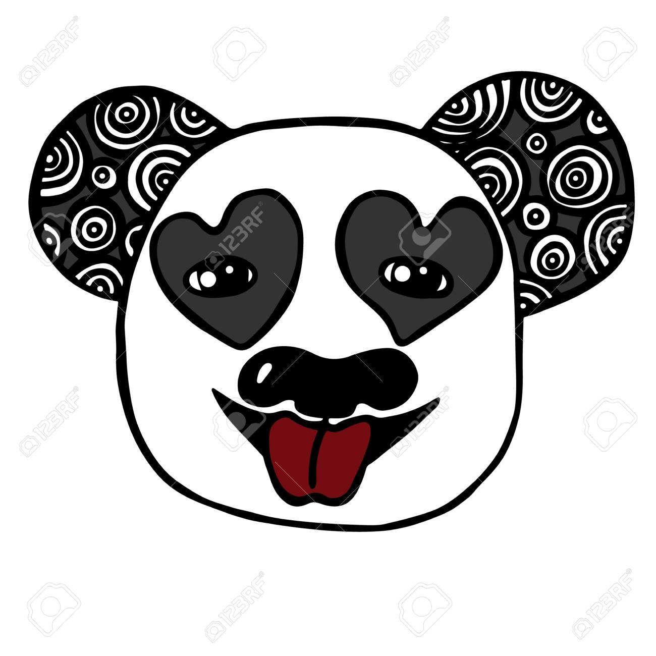 Cabeza Abstracta De Panda Con Ojo De Corazón. Boceto Para Tatuaje ...