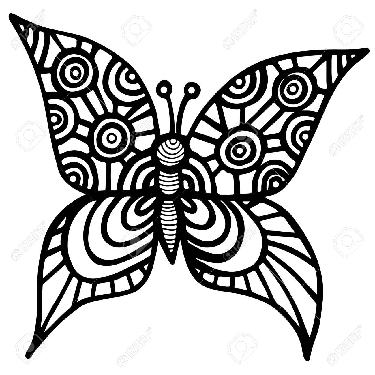 Papillon Isole Decoratif Pour Tatouage Livre De Coloriage Ou Page Pour Adultes Et Enfants Isoles Sur Fond Blanc