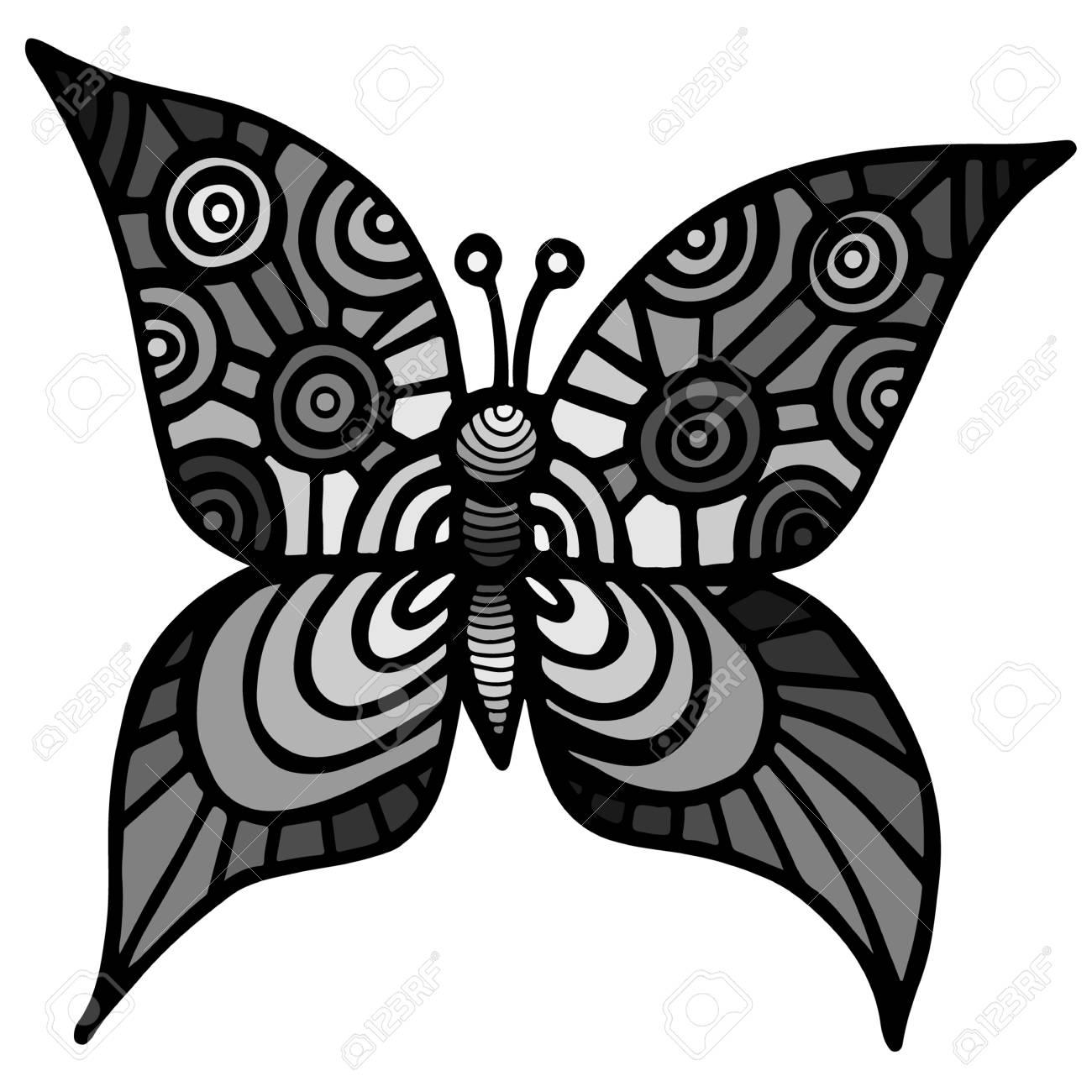 Decoratif Papillon Gris Isole Pour Le Tatouage Livre De Coloriage Ou De La Page Pour Les Adultes Et Les Enfants Sur Le Fond Blanc