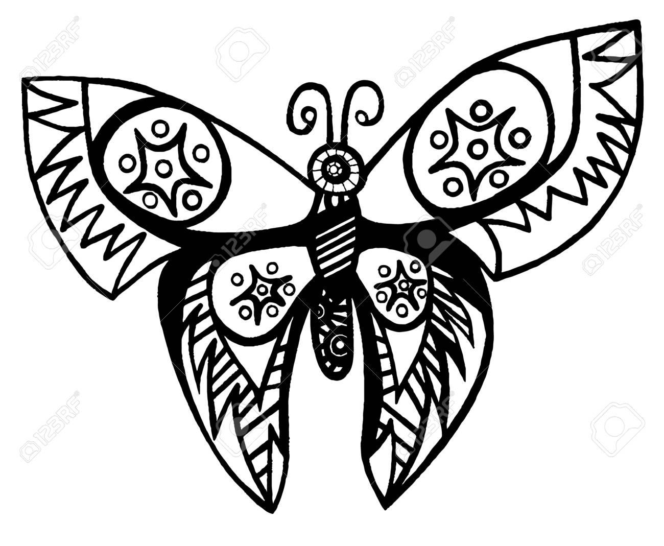 Ligne Noire Papillon Pour Tatouage Livre De Coloriage Pour Adultes Et Enfants Isoles Sur Fond Blanc