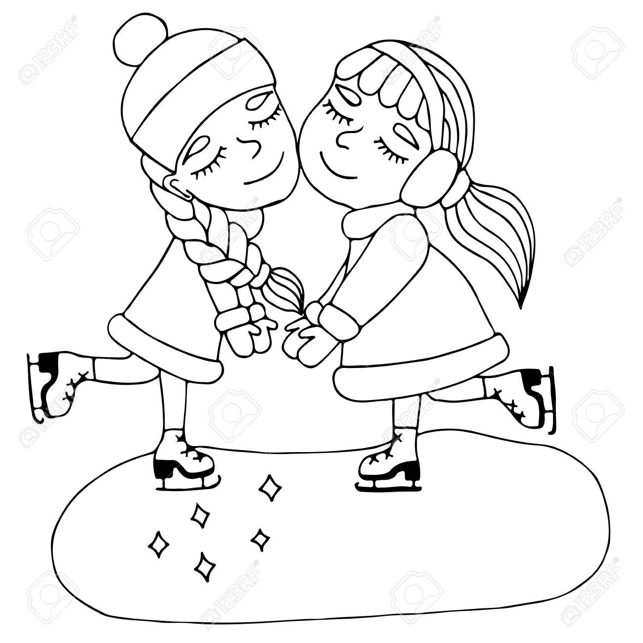 Deux Amies Tiennent Les Mains Sur Des Patins Mono Couleur Noir