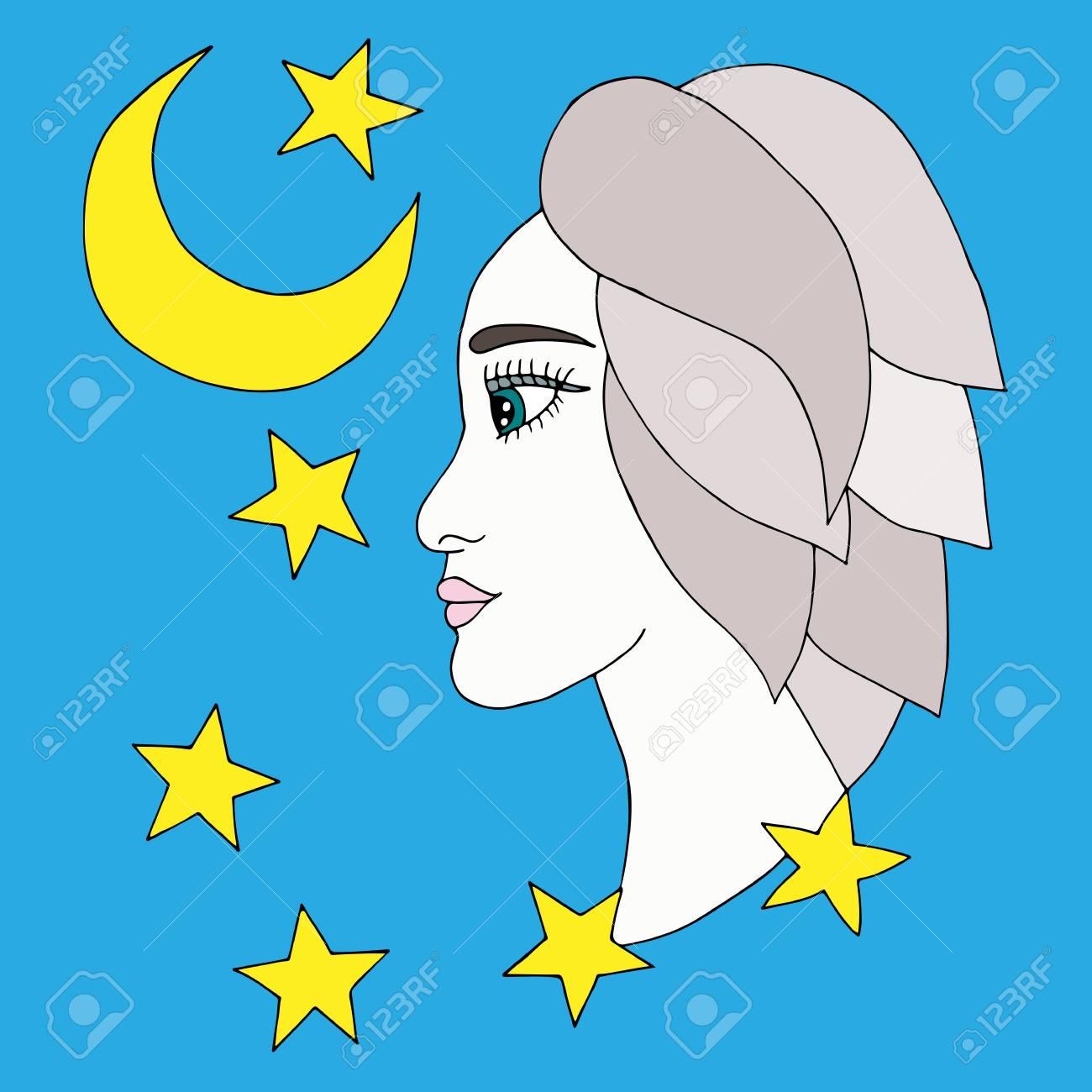 La Muchacha Hermosa Con La Luna Y Las Estrellas En El Fondo Azul ...