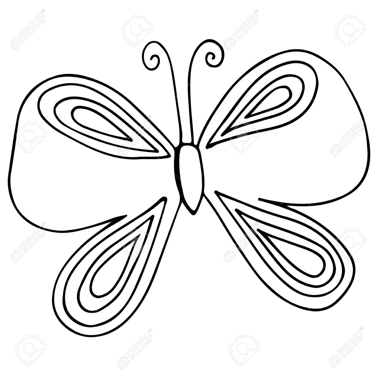 Isolated Butterfly For Tattoo, Coloring Book For Adult And Kids ...