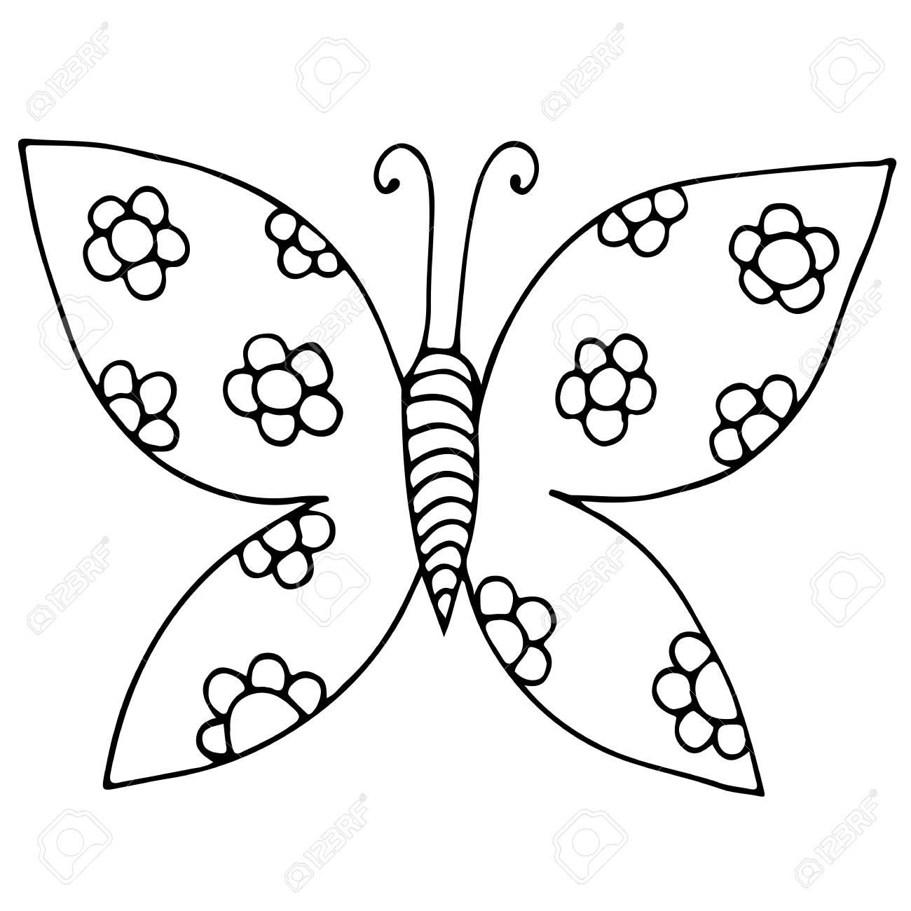 Mariposa De Línea Negra Con Flor Para Tatuaje, Libro Para Colorear ...