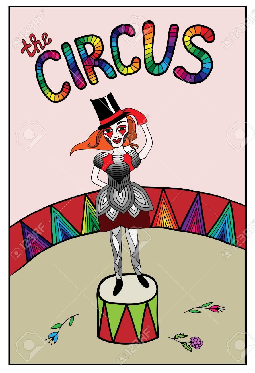Coloriage Adulte Cirque.Belle Fille Coloree Dans Le Cirque Avec Fleur Avec Texte Mono