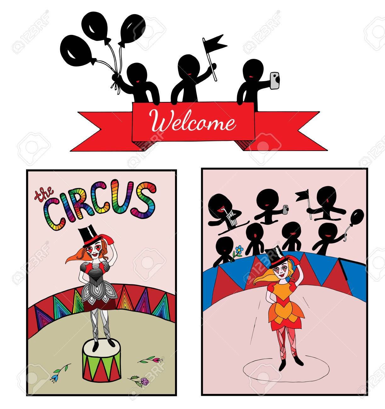 Circo Temático Con Una Chica En El Escenario Y El Público. Elemento ...