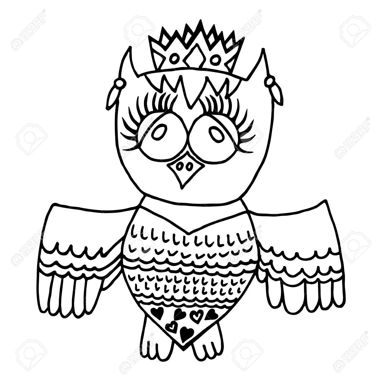 Cute Owl In Crone Picture For Adult Coloring Book Page Design Child Magazine