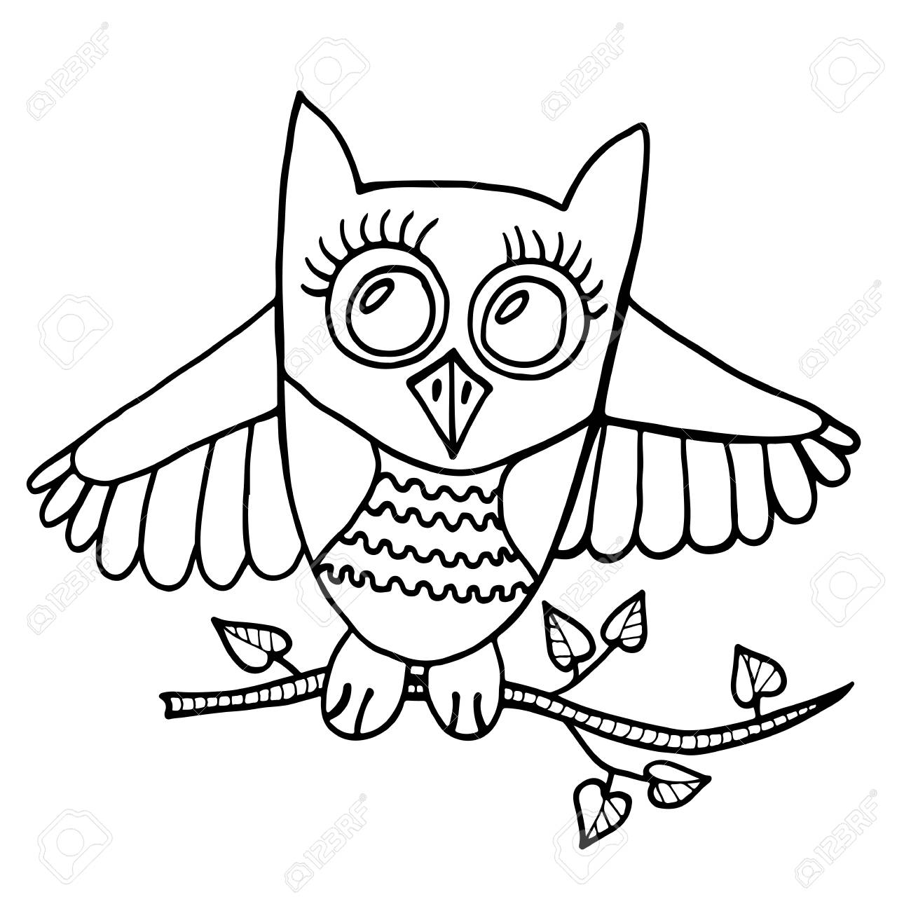 Cute owl sits on a branch with leaves. Picture for adult coloring book page  design ec073b50955a