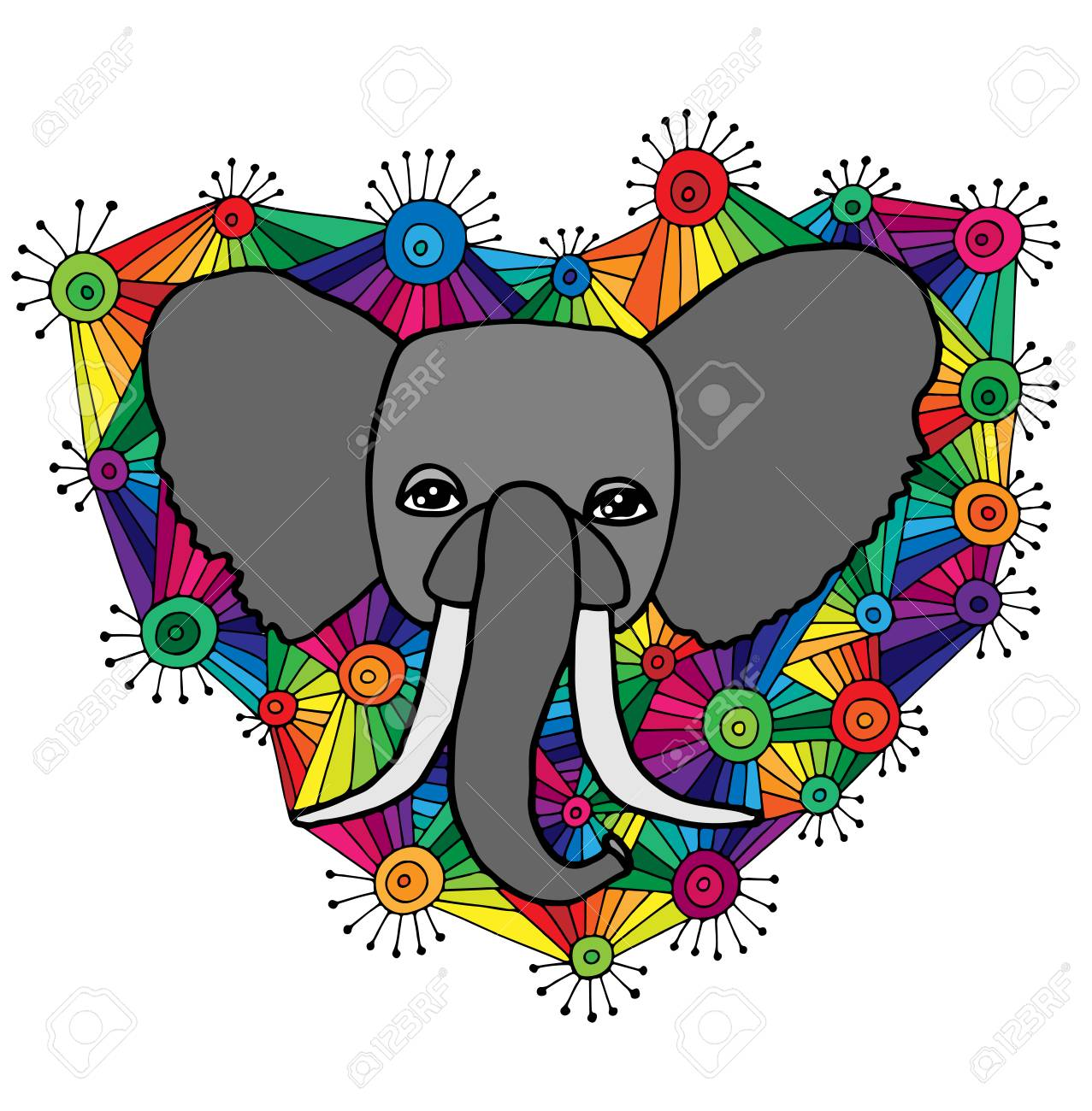 Abstract Elephant Coloring Pages For Adults Flower coloring pages ... | 1300x1277