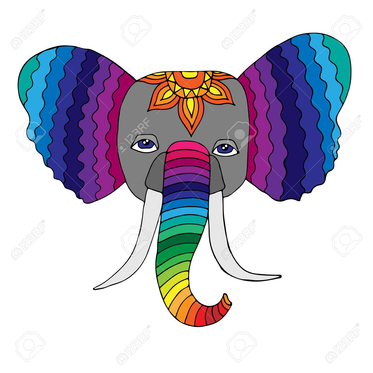 Cute Abstract Elephant Coloring Pages for Adults #6832 Abstract ... | 1300x1300