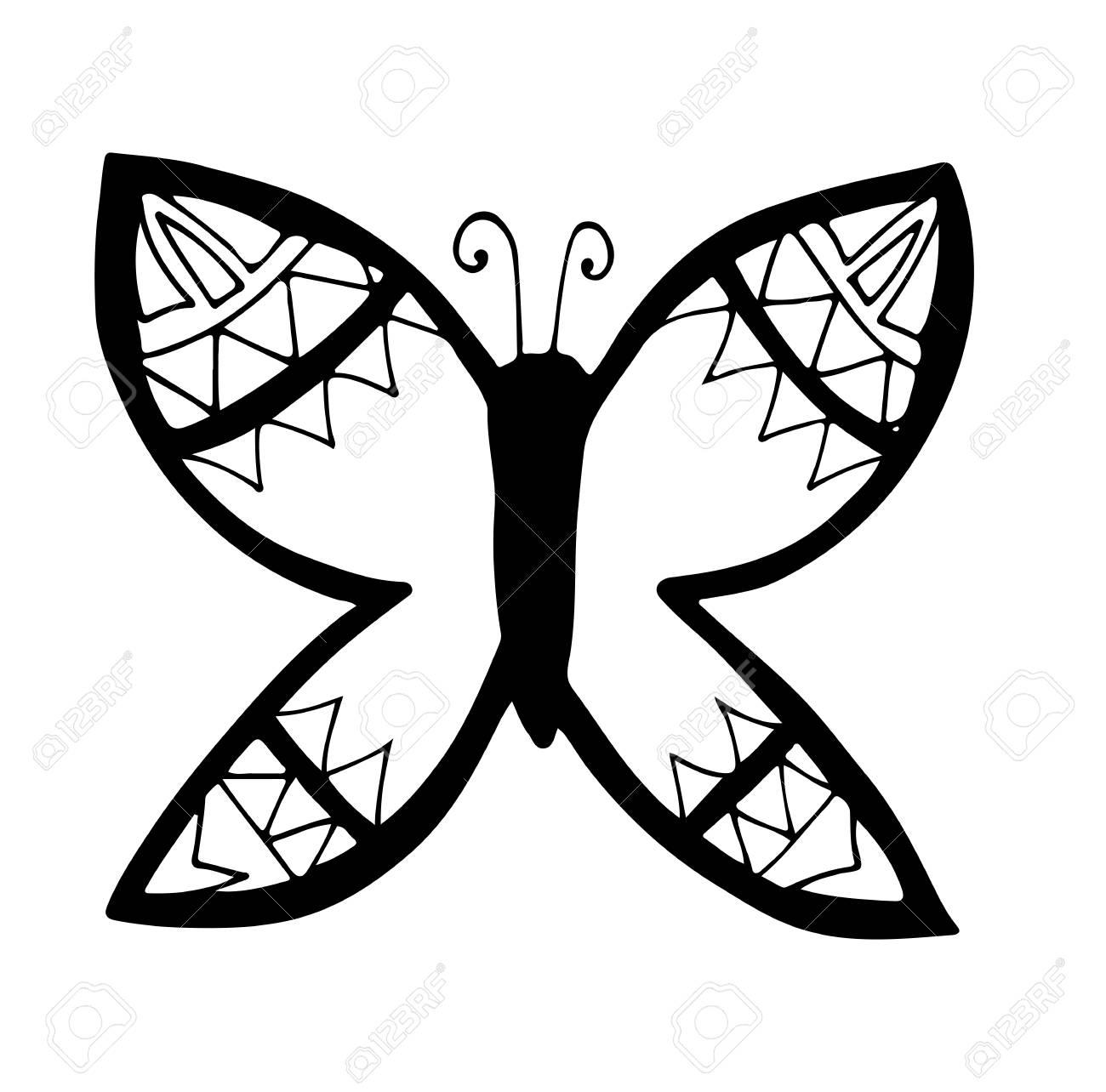 大人と子供の白い背景で隔離のための塗り絵のタトゥーの黒線蝶の