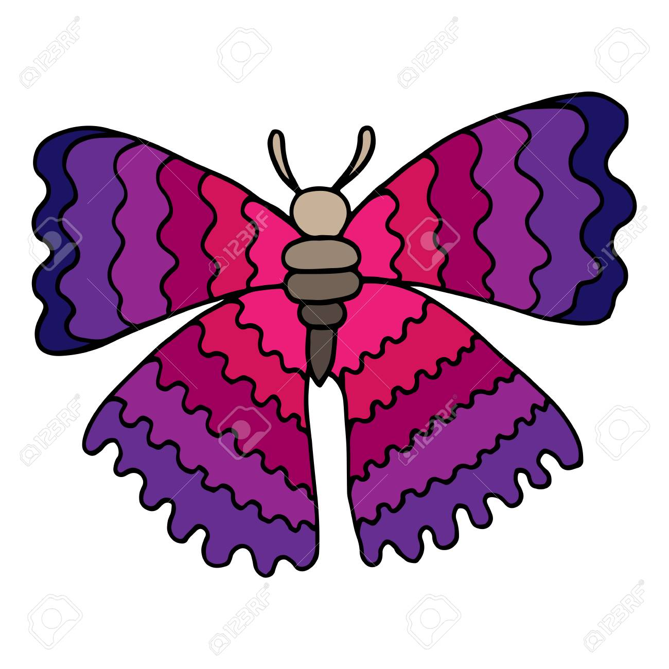 Mariposa Rosa Para Colorear Libro Para Adultos Y Niños Aislados En ...