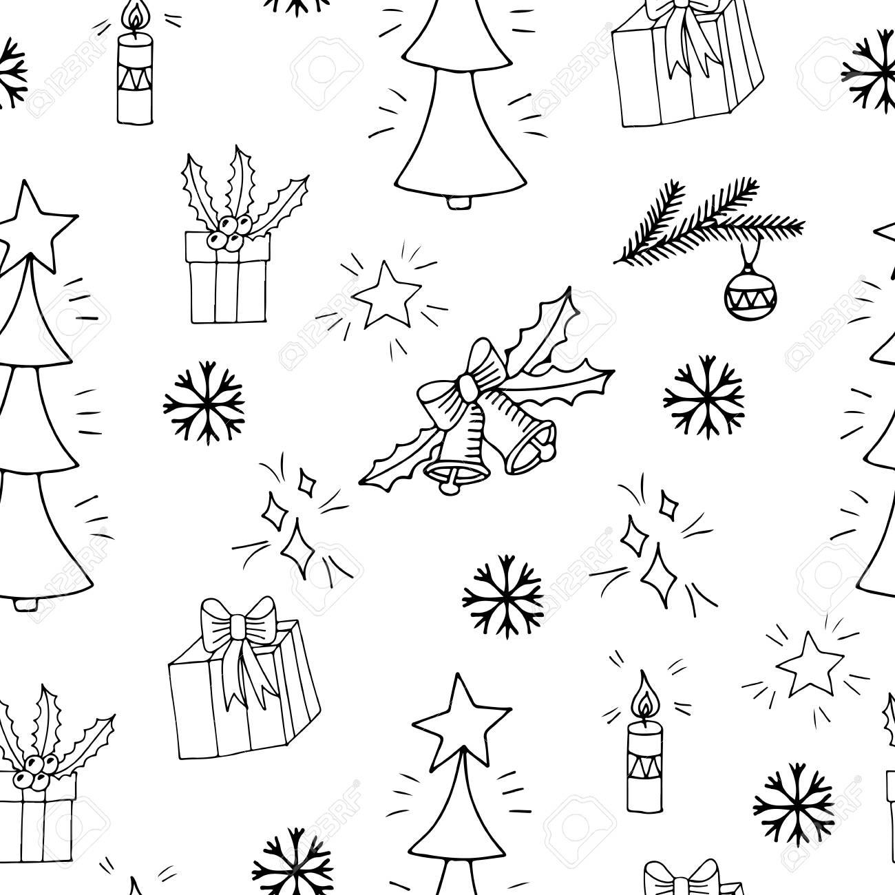 Patrón Sin Fisuras Con Gran Regalo Y Campana árbol De Navidad Y