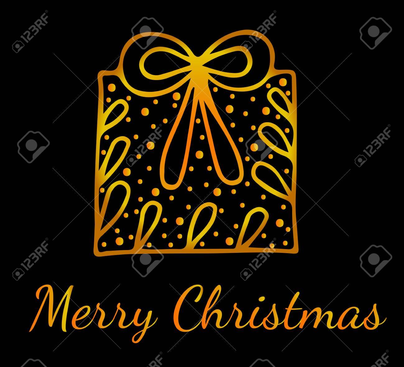 Sfondi Natalizi Oro.Buon Natale Linea D Oro Biglietto Di Auguri Con Grande Regalo Sullo Sfondo Nero Puo Essere Utilizzato Per Carta Invito Poster Sfondi Texture